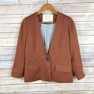 Cartonnier | Burnt Orange Knit One Button Blazer